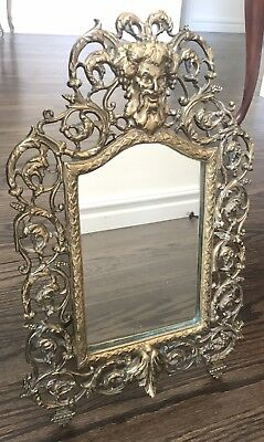 Large Vintage Cast Brass Bacchus Beveled Mirror