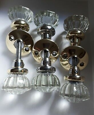 Pair Of Vintage Metal & Brass Plated & Glass Door Knobs / Handles