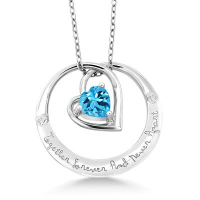 925 Sterling Silver Together 4ever And Never Apart Topaz Diamond Accent Pendant