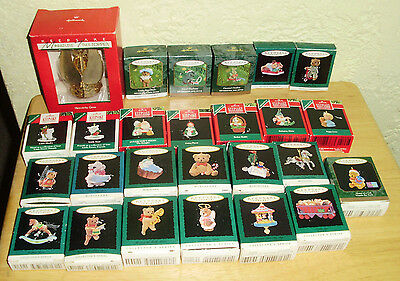Lot of Miniature Hallmark Keepsake Christmas Ornaments plus a Tree Topper