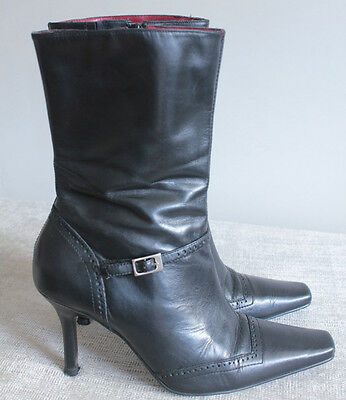 black real leather knee high style lace up heel