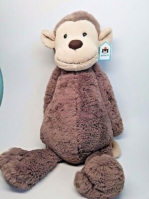 """Jellycat 21"""" HUGE BASHFUL MONKEY - Brand New with Tags"""