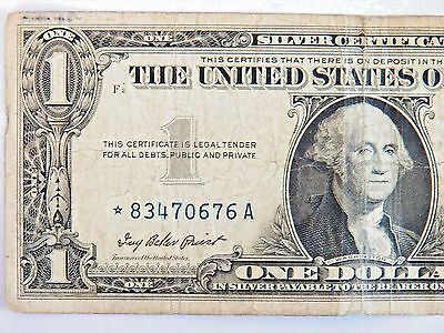 1957 SERIES US $1 One Dollar Star Note Silver Certificate Small Note ...