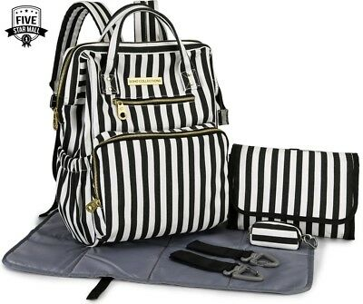 SoHo Collections, Wide Opening Diaper Bag Backpack 5 pcs set Black White Stripe