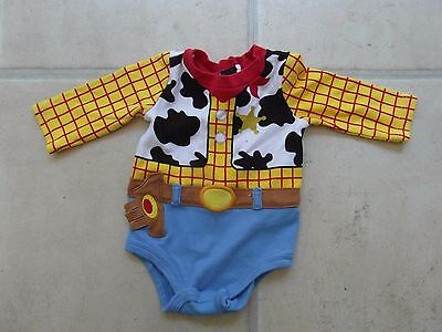 DISNEY BABY: Age 3 - 6 Months - WOODY LONG SLEEVED VEST TOP - GOOD CONDITION