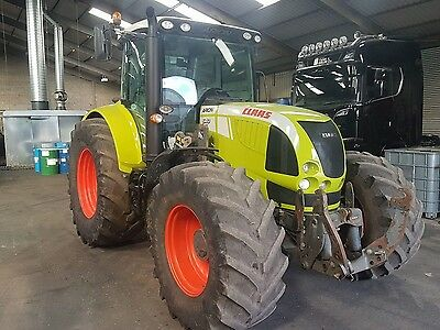 Claas Arion 640 tractor, grain trailer, bale trailer, mower, topper.