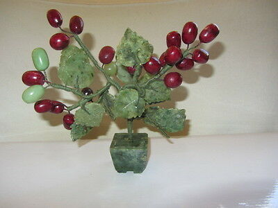 Vintage Chinese Jade Stone Carved Cherry Tree In Pot