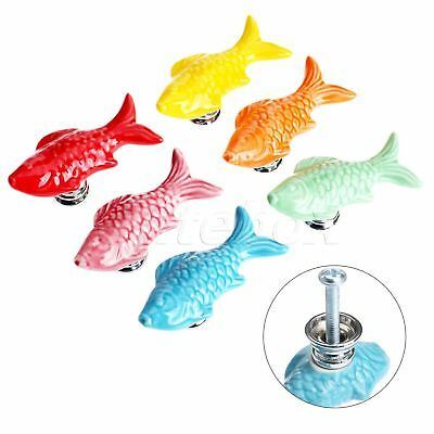 Cute Fish Ceramic Door Knobs Drawer Cabinet Cupboard Pull Handle Furniture Decor