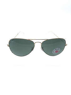 Ray Ban RB3025 001/58 58mm Gold Frame Green Polarized Lens Aviator Sunglasses