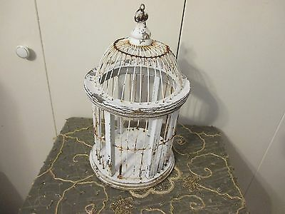 PERFECT GARDEN SHABBY WHITE WOOD/WIRE  Bird Cage SUMMER GARDEN COTTAGE