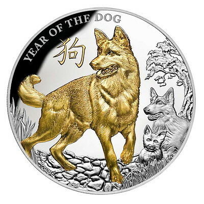 Niue 2018 Year of Dog German Shepherd Family Gilded $8 5 Oz Pure Silver HR Proof