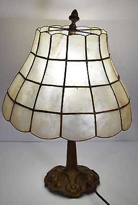 """16"""" Antique Electric Brass Victorian Style Lamp Mica Shade Ornate Base"""