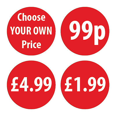 30mm Red Shop Price Sticker Tags, Round Sticky Pricing Labels
