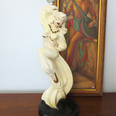 Mid Century Chalk Lamp Belly Dancer Novelty Chalkware Table 40s  50s Woman