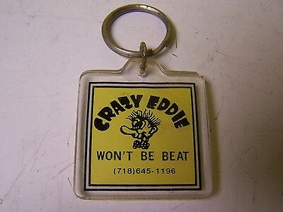VINTAGE Crazy Eddie WON'T BE BEAT 2 SIDED KEYCHAIN STEREO TV ELECTRONICS