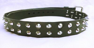 Genuine Full Grain Leather Belt Flat Spiked Studded stud spike AUSTRALIAN MADE