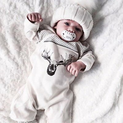 Infant Baby Boy Girls Xmas Deer Romper Jumpsuit Outfits Cotton Clothes Homewear