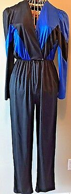 Vintage 1980s Diamonds Run by Wayne Diamond Black Blue Jumpsuit size S / M P8