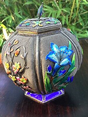 Fine Chinese Export Silver Filigree Enamel Urn Lidded Vase W/ Box