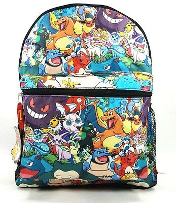 "Pokemon Characters All Over Print 16"" School Backpack Book Bag-8343NEW"