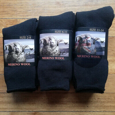 6 Pairs Top Quality 90% Merino Wool SUPER SOFT WARM Dress Work Socks BLACK NEW