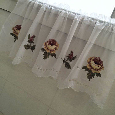 Coming again!! Pretty Applique Rose Embroidery Cutwork Sheer Cafe Curtain Trim