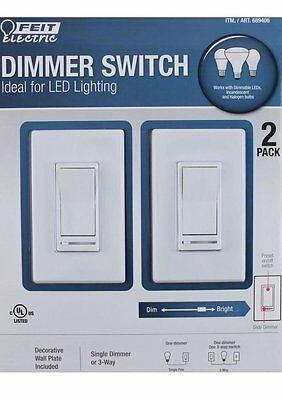 2 x FEIT ELECTRIC DIMMER SWITCH IDEAL LED LIGHTING PLUS WALL PLATES 3-WAY