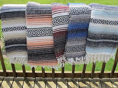 "Authentic Mexican Falsa Blanket Hand Woven Mat Blanket 74"" x 50"" Random color"