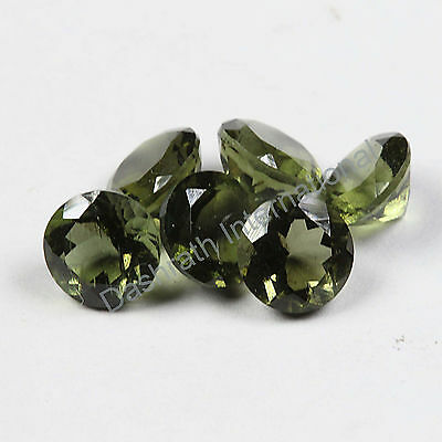 3mm To 12mm Natural Moldavite Faceted Cut Round Calibrated Size Loose Gemstones