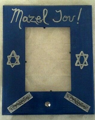 Hand Painted & Decorated Wooden Blue Congratulations/mazel Tov Picture Frame