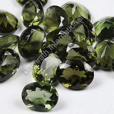 6x4mm To 10x12mm Natural Moldavite Faceted Oval Calibrated Size Loose Gemstones