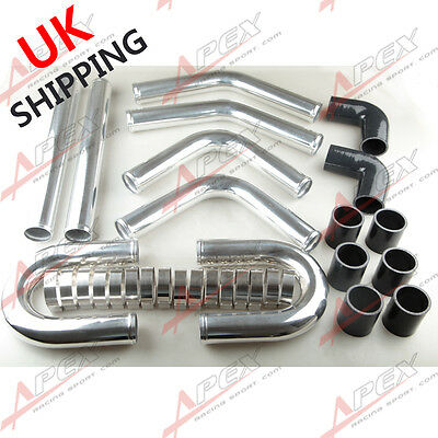 """2.25"""" Inch Universal Aluminum Turbo Intercooler Piping Kit Pipes Clamp Coupler"""