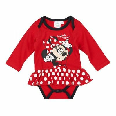 Disney Minnie Body, Langarm, rot, Gr. 62-92