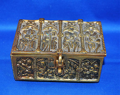 A lovely and unusual Victorian bronze or brass gothic casket, religious scenes