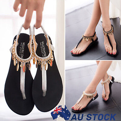 Fashion Womens Summer  T Strap Flat Shoes Casual Beach Sandals Thongs Flip Flops