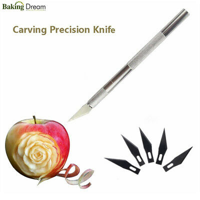 Practical Metal Handle Craft Knife With 6Pcs Blade Scalpel Cutter Engraving Tool