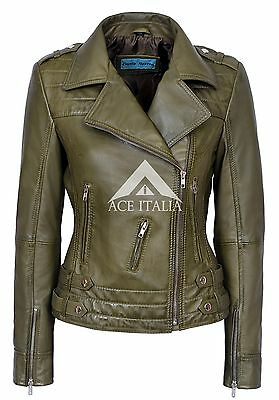 Ladies EMOTION Tan Washed Lambskin Classic Biker Fitted Real Leather Jacket 5816