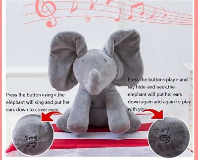 Baby's Elephant Peek-A-Boo Pal Animated Flappy The Elephant Plush Toy with Music