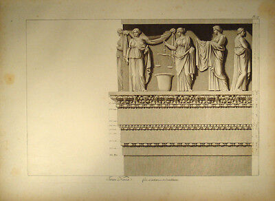 c1800 Ornament Architektur Antike Fries Frieze Nervaforum manière de crayon Gr