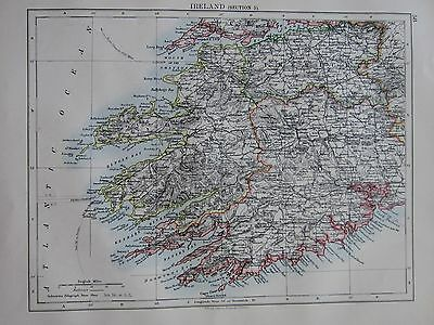 1897 Victorian Map ~ Ireland Kerry Cork Limerick Harbour Dingle Bay