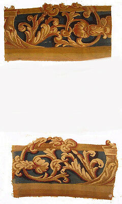 Two Antique Wool & Silk Tapestry Fragments with Arabesques