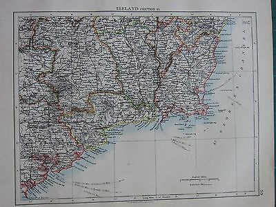 1897 Victorian Map ~ Ireland Waterford Wexford Tipperary Cork Carlow