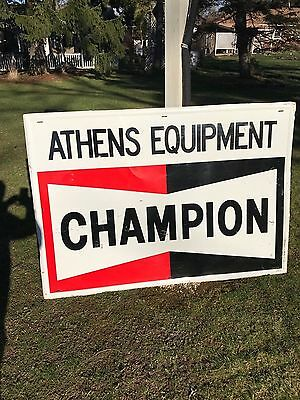 Rare Vintage Champion Spark Plugs Dealer Sign Athens Equipment