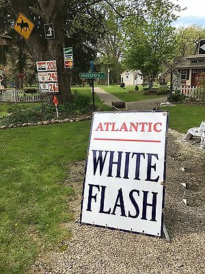 Very Rare Vintage Atlantic White Flash Sign Oil Gas Soda DSP WILL SHIP AWESOME