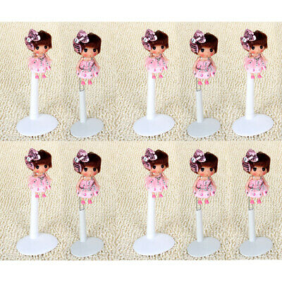 10Pcs White Adjustable Doll/Bear Stands Display Holder for Dolls Accs