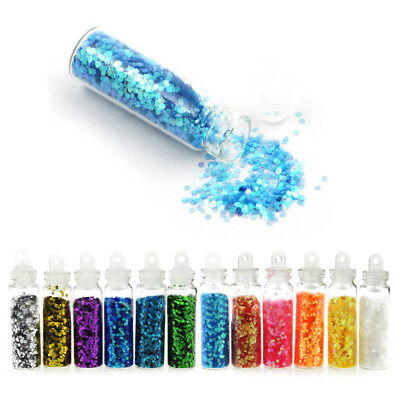12 Pcs Glitter Powder Dust Set Nail Art Acrylic UV Gel Tips Set DIY Decoration