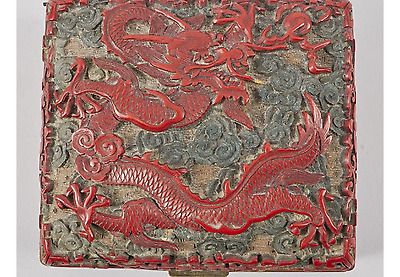 A Carved Cinnabar Lacquer Dragon Box And Cover