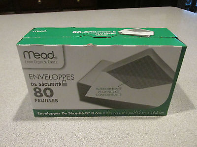 NEW~80 Mead All-Purpose White Security Envelope, 3 5/8 × 6 1/2, ~80 Count