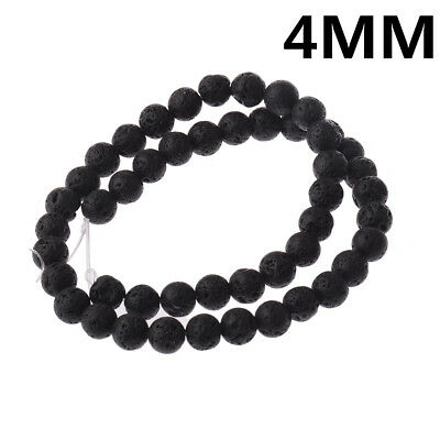 "1 String Black Lava Stone Jewelry Making Loose Beads 15"" DIY Handmade Bracelets"