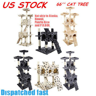 """US 66"""" Cat Tree Tower Condo Furniture CAT Scratching Post Pet Kitty Play House"""